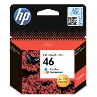 Оригинальный струйный картридж HP 46 Advantage, трехцветный for DeskJet 2020hc/2520hc, up to 750 pages. (CZ638AE)