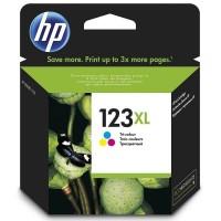 HP 123XL, Оригинальный струйный картридж увеличенной емкости, Трехцветный (F6V18AE)