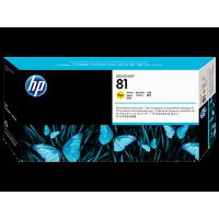 HP 81, Печатающая головка DesignJet для чернил на основе красителя, Желтая, со средством очистки (C4953A)