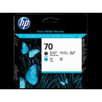 HP 70, Печатающая головка HP, Черная матовая и Голубая (C9404A)