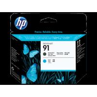 HP 91, Печатающая головка HP, Черный матовый и Голубой (C9460A)